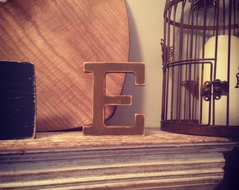 Hand-painted Wooden Letter E - Freestanding - Rockwell Font - Various sizes, finishes and colours - 15cm