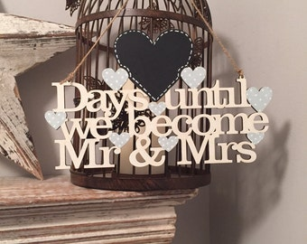 Wedding Countdown Sign, Hanger - Various Colours available!