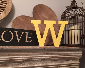 Wooden Letter 'W' - 10cm - Rockwell Font - various finishes, standing