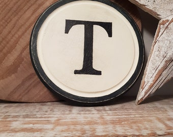 40cm Round Letter T Sign, Monogram, Initial, Wall Art, Home Decor, Rustic Letters, All letters available, inc ampersand