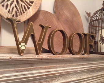 Wooden Letters - WOOF- Photo Props - 10cm - set of 4, Free-standing