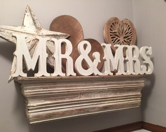 Mr & Mrs -15cm, Handpainted, Free-standing, Wedding Letters - Western Font, new item
