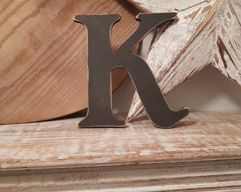 Wooden Letter K - painted and distressed - letter art, interior decor, 15cm, SALE, Clearance