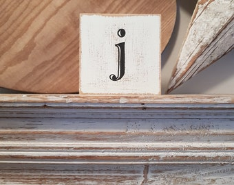 wooden sign, vintage style, personalised letter blocks, initials, wooden letters, monograms, 10cm square, hand painted, rustic, letter j