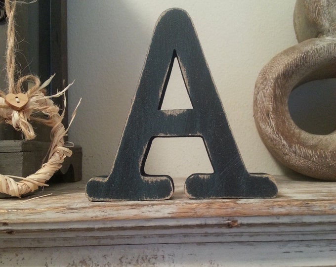 Freestanding Wooden Wedding Letter 'A' - 25cm - Typewriter Style Font, Various Colours & Finishes
