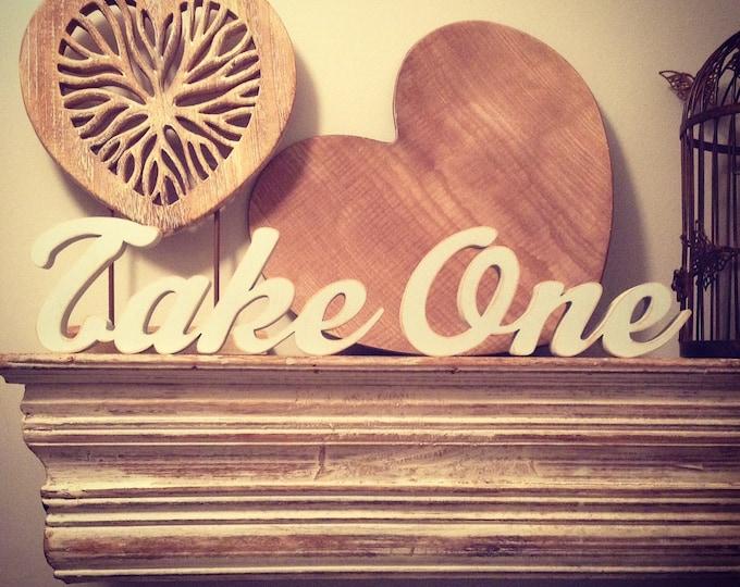 Wooden Wedding Letters - Take One - script font - freestanding