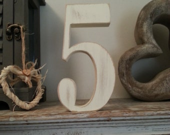 Decorative Freestanding Wedding Table Numbers - Georgian Font - 20cm high - Number 5 - various colours and finishes