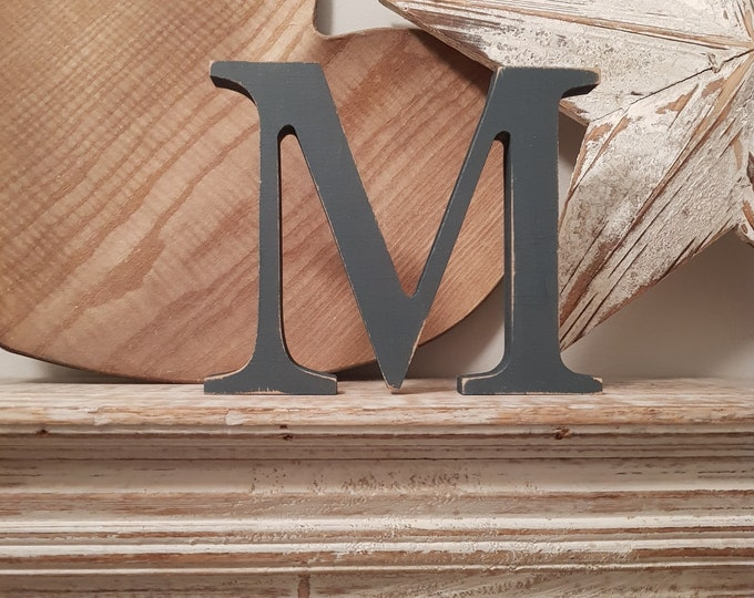 Wooden Letter 'M' -  25cm - Georgian Font - various finishes, standing
