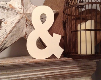 Wooden Letter & - Freestanding - Ariel Font - Various sizes, finishes and colours, Ampersand - 25cm