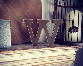 Wooden Letter 'W'- 10cm - Rockwell Font - various finishes, standing