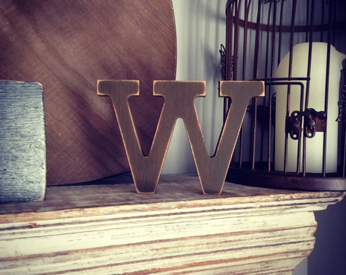 Featured listing image: Wooden Letter 'W'- 25cm - Rockwell Font - various finishes, standing