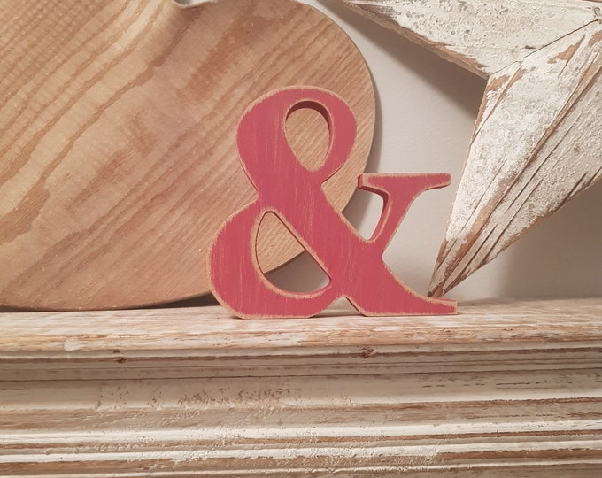 Wooden Letter '&' - ampersand -  30cm - Georgian Bold Font - various finishes, standing