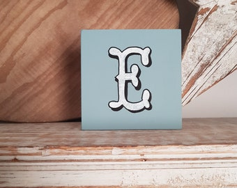 personalised letter blocks, initials, wooden letters, monograms, letter E,  10cm square, hand painted