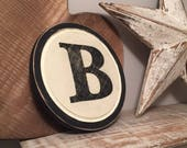8 quot Round Letter B Sign, Monogram, Initial, Wall Art, Home Decor, Rustic Letters, All letters available, inc ampersand, typewriter style