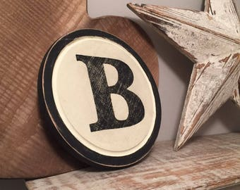 "8"" Round Letter B Sign, Monogram, Initial, Wall Art, Home Decor, Rustic Letters, All letters available, inc ampersand"