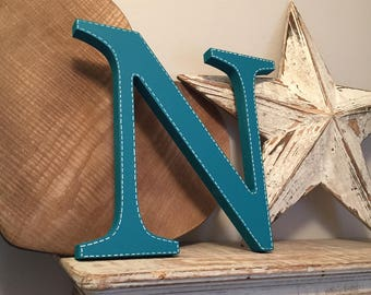 Painted Wooden Letter N - Large , Georgia Font, 50cm high, almost 20 inch, any colour, wall letter, wall decor, 18mm, price per letter