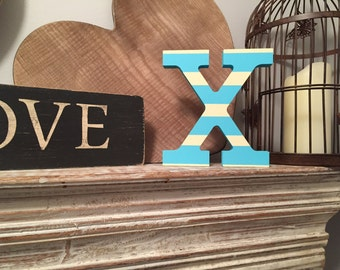 Hand-painted Wooden Letter X - Freestanding - Rockwell Font - Various sizes, finishes and colours