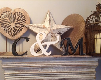 Wooden Wedding Letters - Free-standing, Set of 3 - Hand-painted Photo Props - 12cm - 15cm