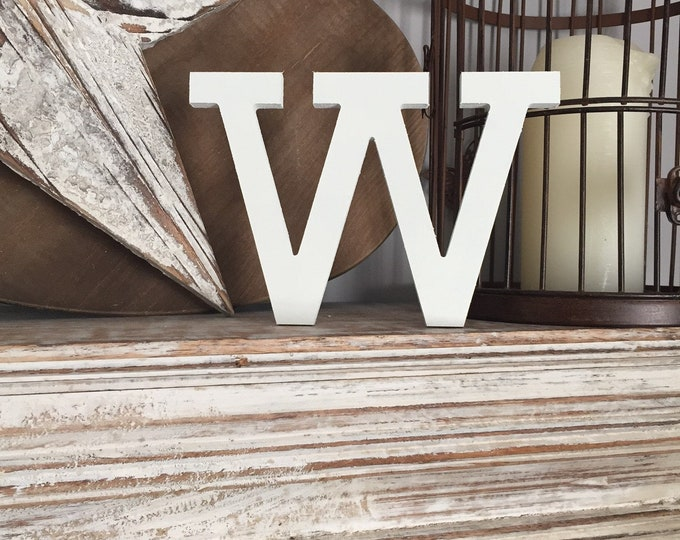 Wooden Letter 'W'- 20cm- Rockwell Font - various finishes, standing