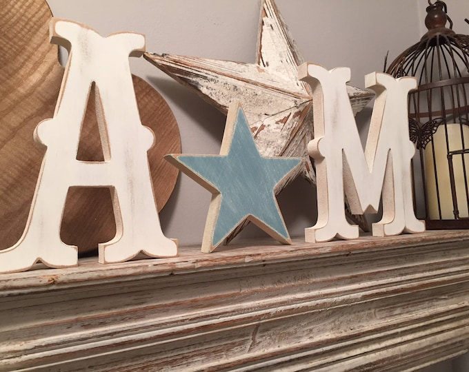 Wooden Wedding Letters and a Love Heart - various finishes and colours available - set of 3 - 20cm letters, 15cm star, Circus Font