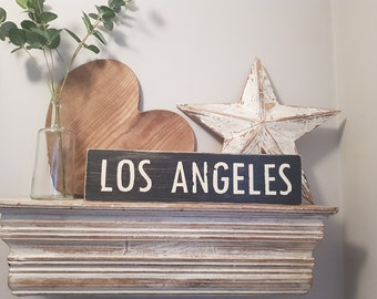Painted Wooden Sign - Custom Sign, City, Town, State - Wall Decor - Rustic, Vintage, Shabby Chic, LOS ANGELES