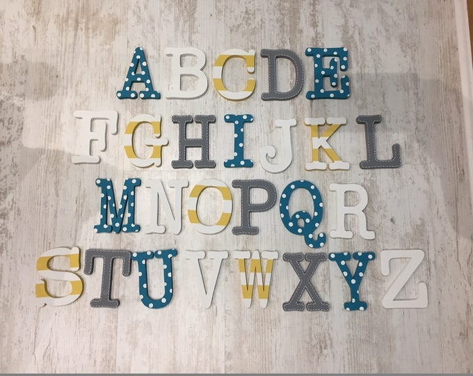 Full Wooden Alphabet - Hand Painted Wooden Letters Set - 26 letters - 12cm high, Typewriter font, any colours
