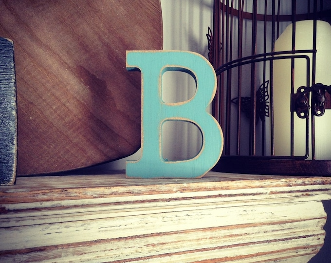 Wooden Letter 'B' - 25cm - Rockwell Font - various finishes, standing