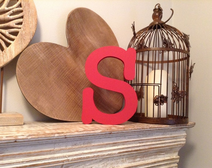 Wooden Letter S - Freestanding - Typewriter Font - Various sizes, finishes and colours - 30cm high, 18mm thick