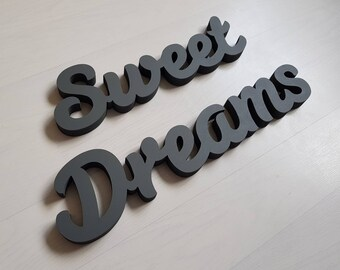 10cm Handpainted Freestanding Wooden Letters - Sweet Dreams - New Script - various colours and finishes