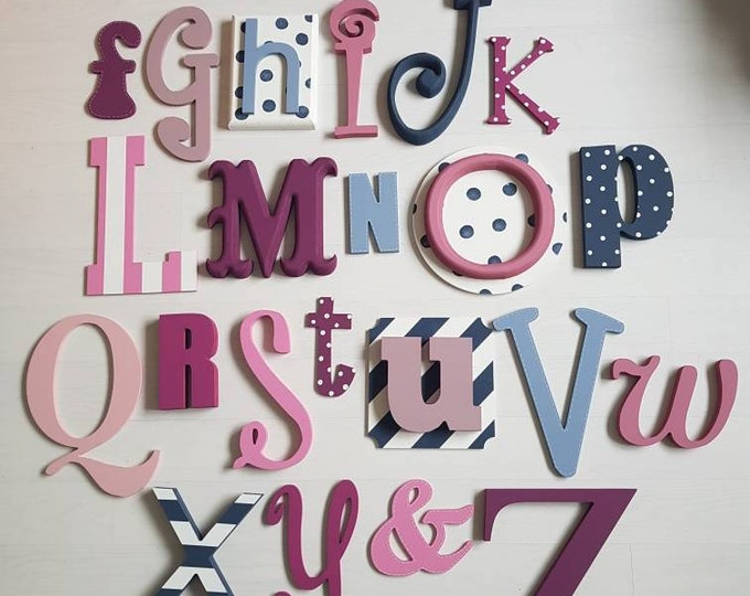 Featured listing image: Full Wooden Alphabet - Hand Painted Wooden Wall Letters Set - 27 letters in total - mixed font and sizes - choose colours to suit your decor