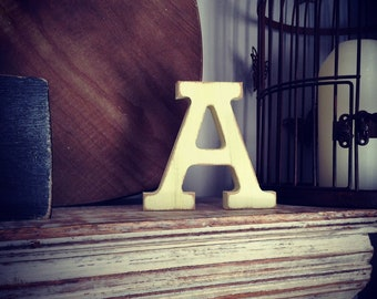 Hand-painted Wooden Letter A - Freestanding - Rockwell Font - Various sizes, finishes and colours - 15cm