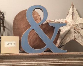 Wooden Letter Ampersand '&' - 15cm - Georgian Font - various finishes, standing