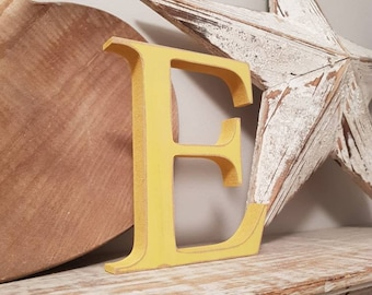 Painted Wooden Letter E - Georgia Font - Various finishes and colours, standing, 20cm