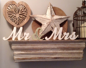 Wooden Wedding Letters - Mr & Mrs - Machiarge Font - 15cm - free-standing, personalised with date