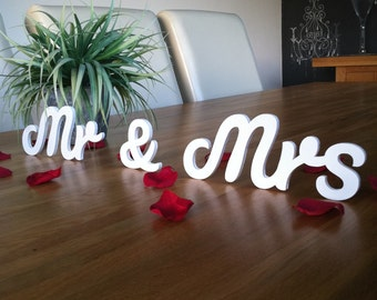 Mr & Mrs - Wooden Wedding Letters - Freestanding - 10cm - Script Font- various colours and finishes