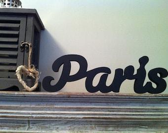 Handpainted Freestanding Wooden Letters - Paris - Susa Script - Black