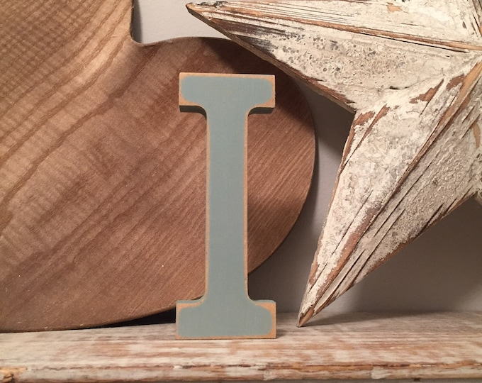 Wooden Letter I - 30cm x 18mm, Freestanding - Rockwell Font - Various sizes, finishes and colours