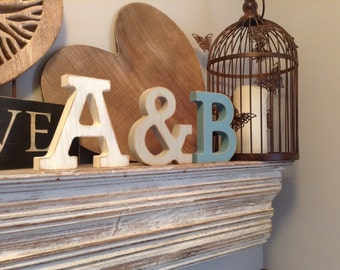 Wooden Letters, Set of 3, Hand-painted, Photo Props - 15cm, free-standing, wedding decor, Painted Letters