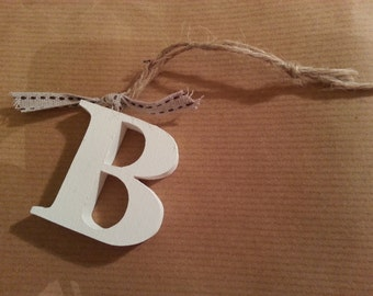 Hanging Wooden Letter Tag - Hand Painted - Letter B - Gift Tag