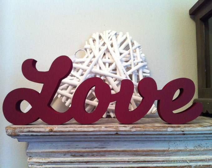Wooden Letters - Love - Script Font, 10cm high, Free-standing, hand-painted
