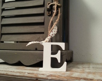 Hanging Wooden Letter Tag - Hand Painted - Letter E
