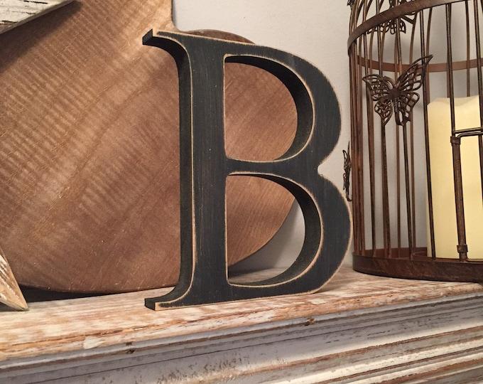 Wooden Letter 'B' -  20cm x 18mm - Georgian Font - various finishes, standing