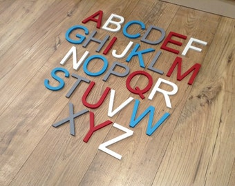 Full Wooden Alphabet - Hand Painted Wooden Letters Set - 26 letters - 10cm high - New Ariel Font
