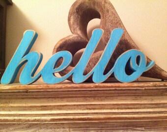 Wooden Script Letters - hello - 10cm - Machiarge Font, Various Colours & Finishes, hand-painted