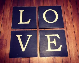 Wooden Letter Blocks, Plaques, Signs, Set of 4, 20cm square, hand painted, chalkboard style, spelling LOVE