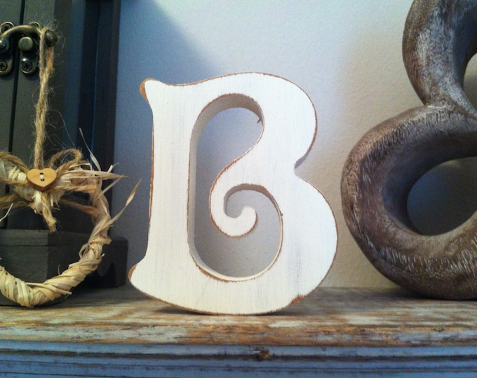 Wooden Letter B – Personalized Name Letter – Nursery Decoration Ideas – Rustic Room Décor – Victorian Style – Decorative Wooden Sign - 25cm