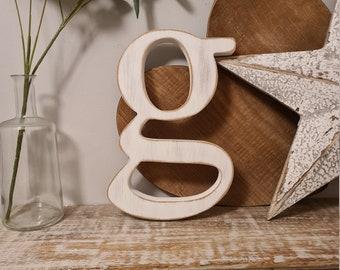 Wooden Letter 'g' -  20cm x 25mm - Georgian Font - various finishes, standing