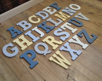 Full Wooden Alphabet - Hand Painted Wooden Letters Set - 26 letters - 10cm high - New Rockwell Font