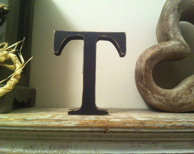 Wooden Letter T - 30cm x 18mm, Freestanding - Georgian Font - Various sizes, finishes and colours