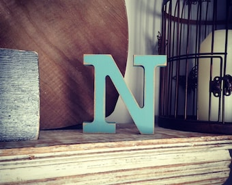 Hand-painted Wooden Letter N - Freestanding - Rockwell Font - Various sizes, finishes and colours - 30cm